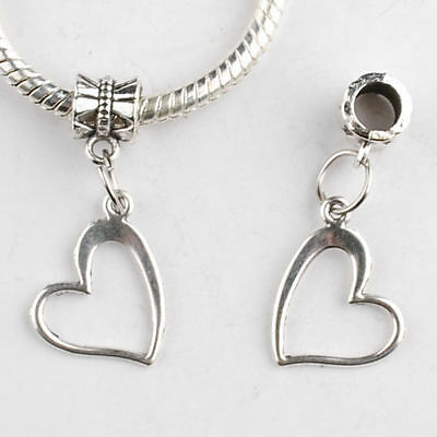10Pcs Antique Tibetan Silver Love Heart Charm Beads Pendant DIY Jewelry Findings