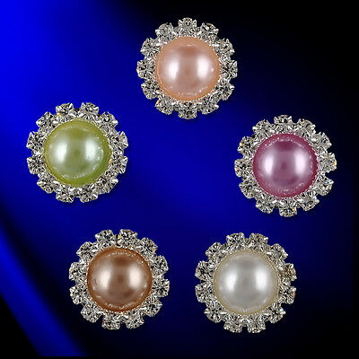 10pcs 15mm Round Pearl Sunflower Cluster Crystal Rhinestone Button DIY Buckle