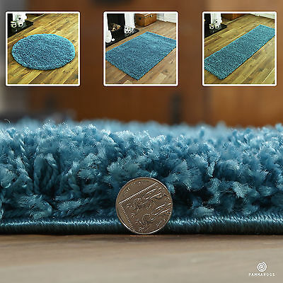 Shaggy Small Extra Large Plain Turquoise Blue Rugs Thick 5Cm Pile Modern Rugs