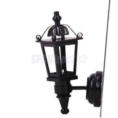 Dollhouse Miniatue Black Metal Coach Lamp Outdoor Wall Light Lighting LED