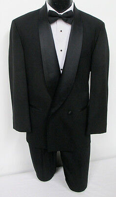 Black Double Breasted Shawl Lapel Tuxedo Package Wedding Prom Formal 46R