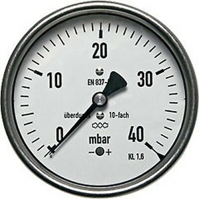 "160 mm Manometer Horizontal 0/25 mBar G 1/2 "" Bis 10-fach Overload"