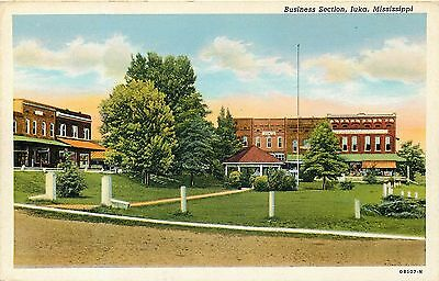 Iuka Mississippi Business Section Vintage Postcard View