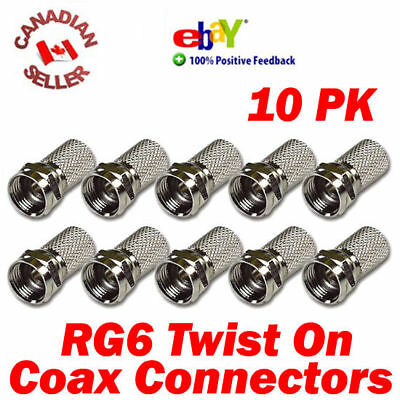"""10 Coaxial Cable RG6 F """"Twist On"""" Connectors for Coax cable, Satellite, and more"""