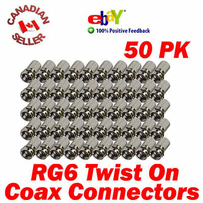 """50 Coaxial Cable RG6 F """"Twist On"""" Connectors for Coax cable, Satellite and more"""
