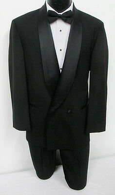 Black Double Breasted Shawl Lapel Tuxedo Package Wedding Prom Formal 40S