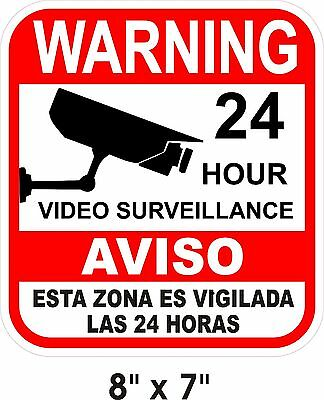"7"" x 8""  Alarm Surveillance Security Camera Video CCTV Warning Decal Signs"