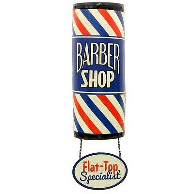 Barber Shop Pole Flat-Top Vintage Style Reproduction Tin Sign Decor 7.25 x 25