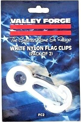 NEW FC2 Valley Forge Set/2 White Nylon Flag Snap Clips Prevents Clanging on Pole