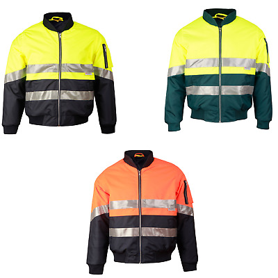 Mens High Visibility Heavy Duty Work Safety Rain Coat Fluro Hi-Vis Jacket Sw16