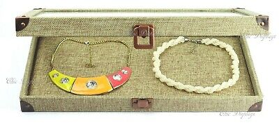 BURLAP GLASS TOP WOODEN CASE JEWELRY BOX DISPLAY CASE with FLAT LINER SHOWCASE