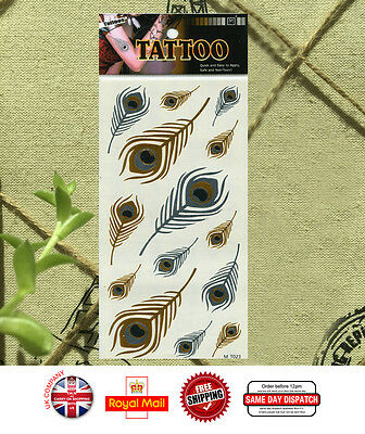 Metallic Gold Silver Feather Tribal Temporary Tattoo Body Art  Waterproof M-T023