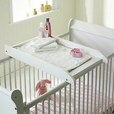 New Saplings White Wood Baby Cot / Cotbed Top Changer Infant Changing Station