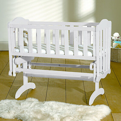 New Saplings White Wood Baby Glider Crib Infants Wooden Gliding Rocking Cradle