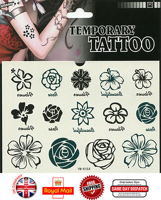 Black Flower Waterproof Temporary Tattoo Transfer Sticker Body Art YM-K154
