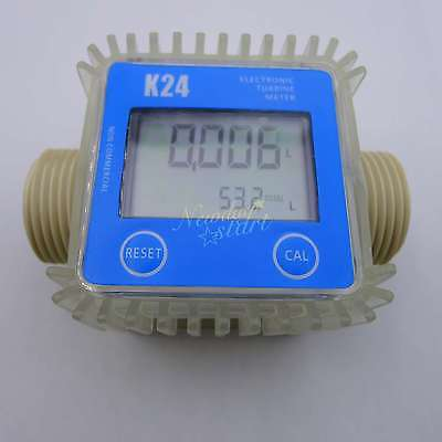Pro K24 Turbine Digital Diesel Fuel Flow Meter For Chemicals Water Random Color