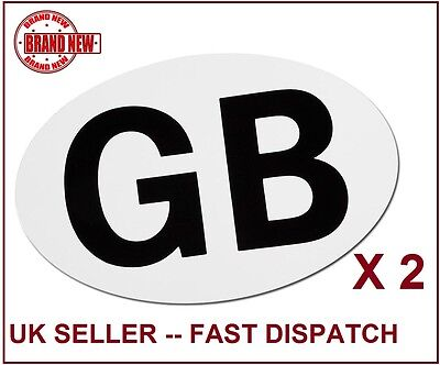 2 x White Oval GB Magnetic Travel Rear Sticker Car Van Vehicles Pack Plate Pack