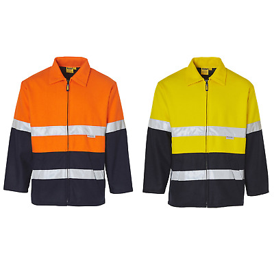 Mens Hi-Vis Two Tone Bluey Jacket Scotchlite Reflective Work Wear High Vis Fluro