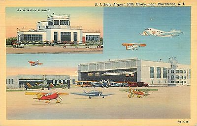 Providence Rhode Island State Airport Vintage Postcard
