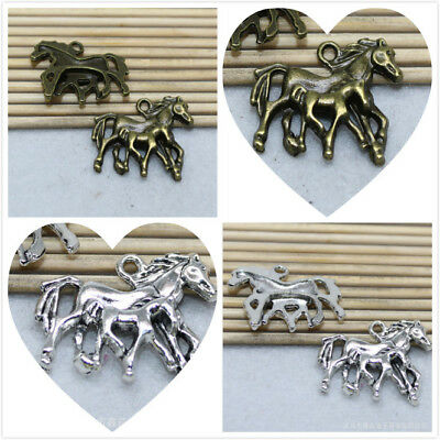 8/24pcs Antique silver and bronze lovely delicate two  horse charm pendant