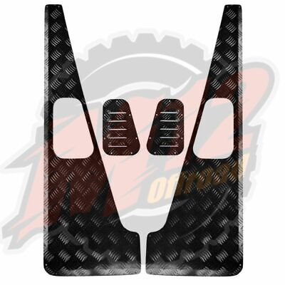 Wing Top Protectors & Grilles – 2mm Chequer Plate –Powdercoated Black - Defender