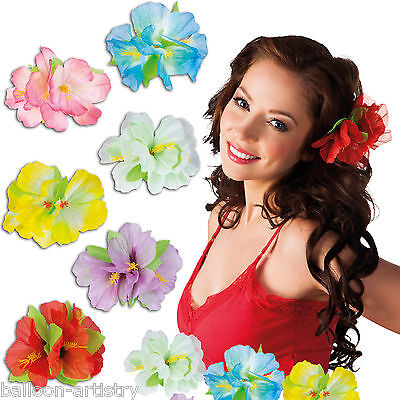 Tropical Luau Hawaiian Summer Party Hibiscus Flower Hair Clip Accessory
