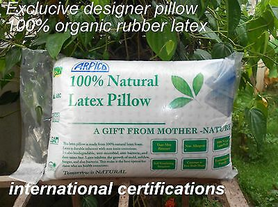 Latex Pillow 100% Natural Organic Latex & Cotton  Ziped  Cover 60*40*15Cm 1.5 Kg