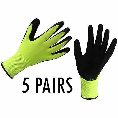 5 x LATEX COATED SAFETY WORK GLOVES THERMAL PU GRIP BUILDERS MECHANIC