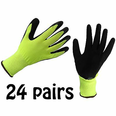 24 x LATEX COATED SAFETY WORK GLOVES THERMAL PU GRIP BUILDERS MECHANIC