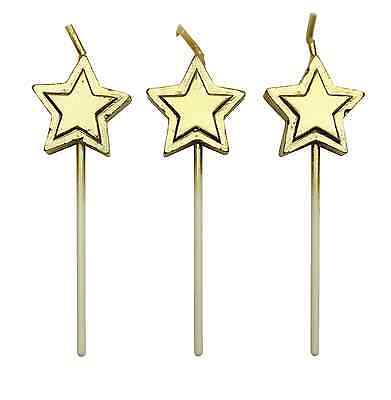 PME 8 Set GOLD STARS Candles Birthday Party Cake Decorating