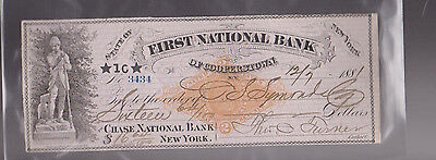 First National Bank of Cooperstown NY Used Bank Check 1881