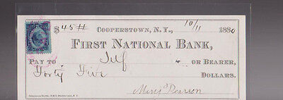 First National Bank of Cooperstown NY Used Bank Check 1880 Revenue Stamp