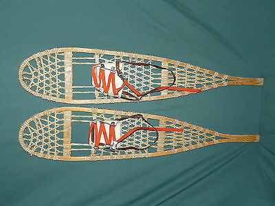 "Vintage TUBBS Wooden SNOWSHOES Snow Shoes rawhide 10"" x 46"" antique decor cabin"
