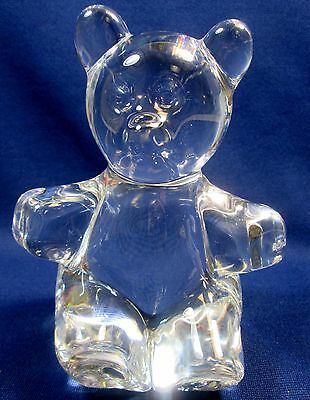 Vintage Daum France Art Glass Crystal Teddy Bear Figurine Sculpture Glass Animal