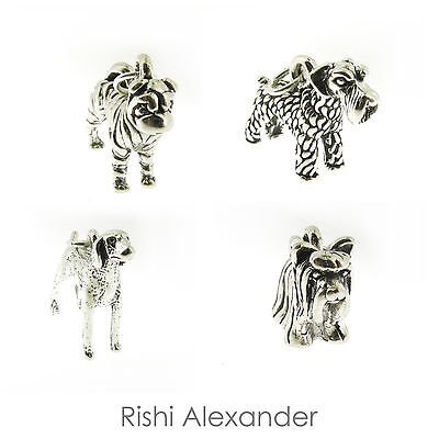 925 Sterling Silver Dog Puppy Charms Many Breeds Made in America