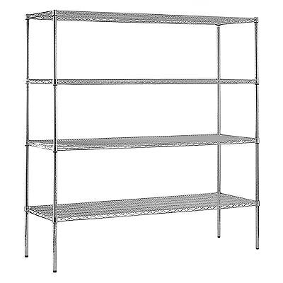 "Heavy Duty NSF Certified Chrome 4-Shelf Wire Shelving - 86""H x 72""W x 2-2,400lbs"