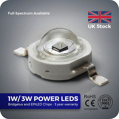 1W 3W High Power LED Bridgelux chip without PCB for Grow Aquarium Light SMD UV