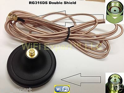 WiFi DOUBLE SIDED EXTRA STRONG Magnetic Base RP-SMA 3 Foot Extension Cable USA