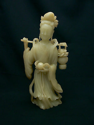Rare and Beautiful Large Chinese Antique Shou-Shan Carving Quan-yin