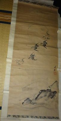 Rare Japanese Vintage Hand Painted Makuri Scroll Signed Birds Zen