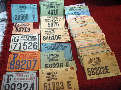 Grp. Of 66 Vintage + Pennsylvania Hunting Licenses 1954 - 1983 - From 1 Family