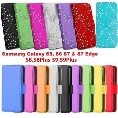 Diamond Flip Book Leather Card Wallet Case Cover For Samsung Galaxy Mobile Phone