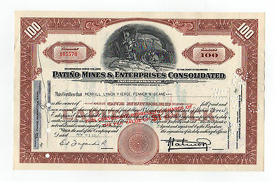 Patino Mines & Enterprises Consolidated Stock Certificate