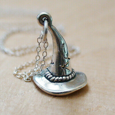 Witch Hat Necklace - 925 Sterling Silver - 3D Charm Merlin Wicked Halloween NEW