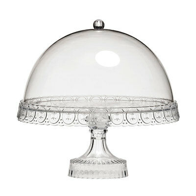 Clear Acrylic Cake Stand With Dome Lid Modern Kitchen Dining Party Tableware New