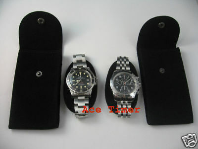Pack of 2 Black Velvet Watch Pouch w/ Divider Fit Rolex Omega 7 others