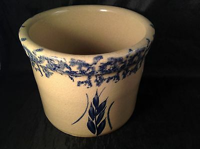 Robinson Ransbottom 1 Pt Low Jar Crock Tan Blue Spongeware Rim Wheat RRP CO