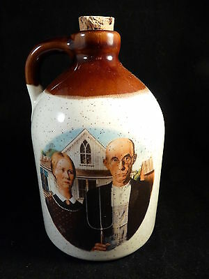 Clay White/Brown Jug With Grant Wood American Gothic Picture