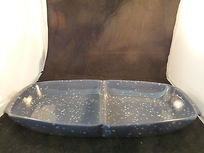 Frankoma 5 QD Plainsman Divided Bowl Country Blue Oklahoma Pottery Made In USA