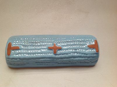 Frankoma Corn Cob Holder Light Blue Sapulpa Clay Oklahoma Pottery